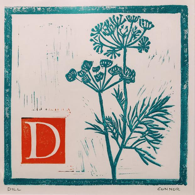 Dill by David Connor - linocut print - matted in white - relief printmaking - local Maine Artist