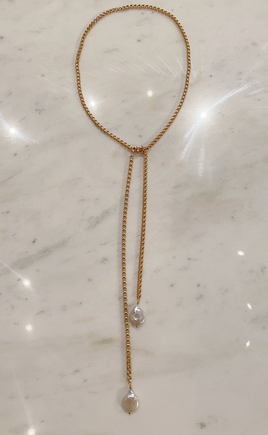Gold Chain + Pearl Drop Lariat Necklace