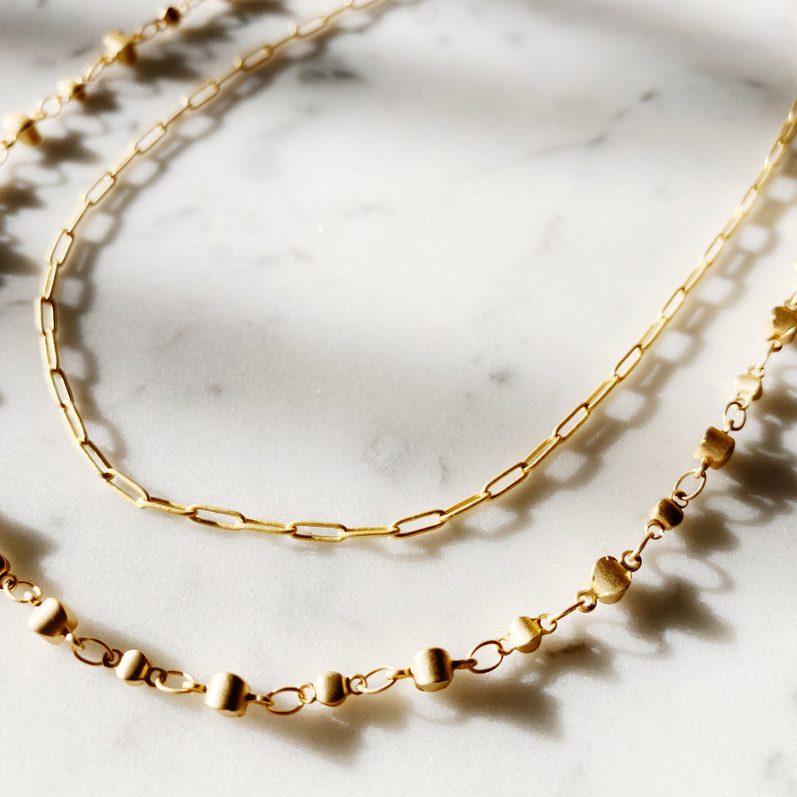 Layered Paper Clip + Dot Chain Necklace