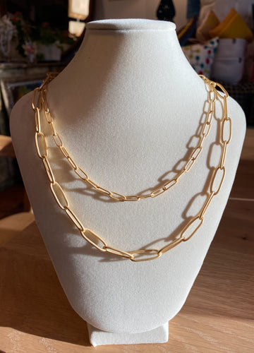 Layered Paperclip Chain Necklace