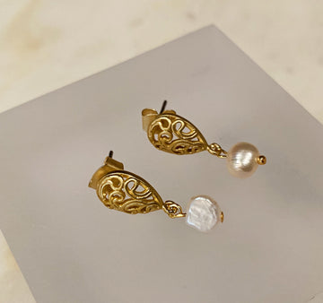 Filigree Post Earrings with Tiny Pearl Drop