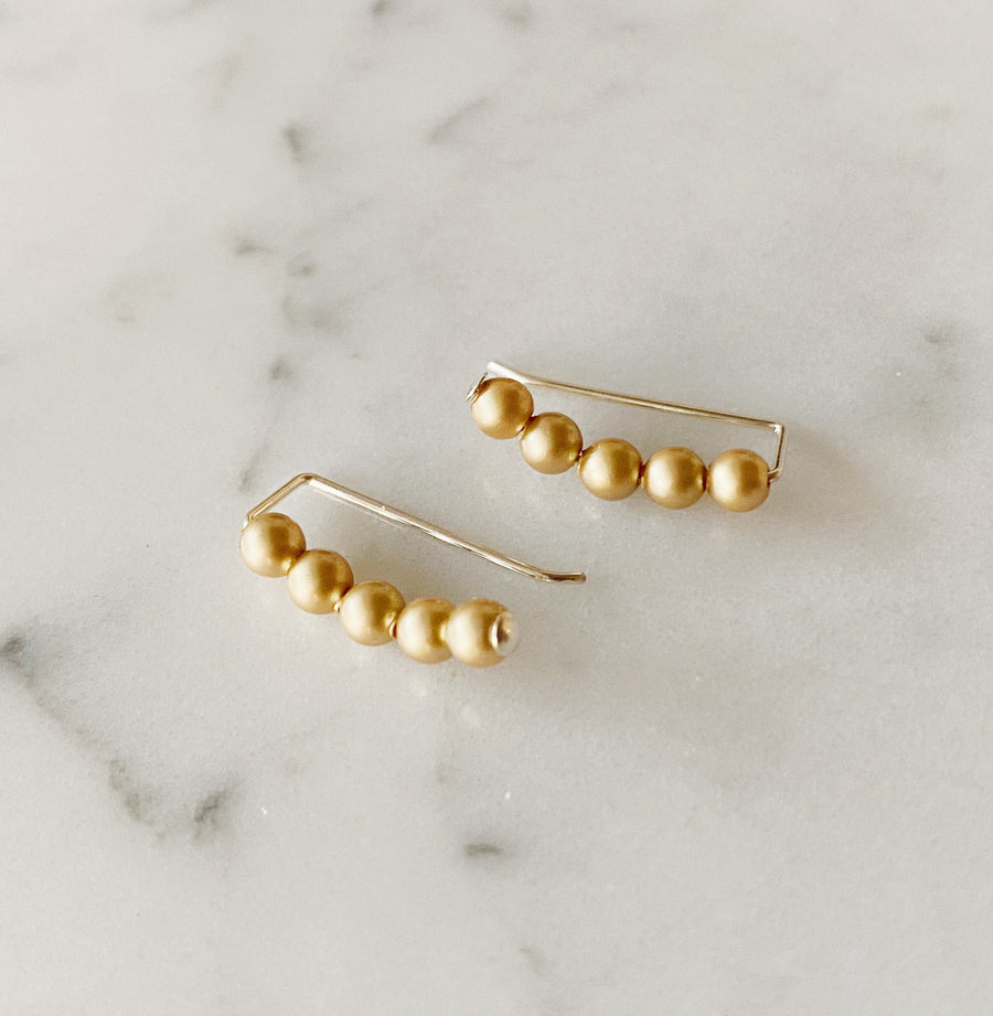 Swarovski Crystal Pearls Ear Climbers in Vintage Gold
