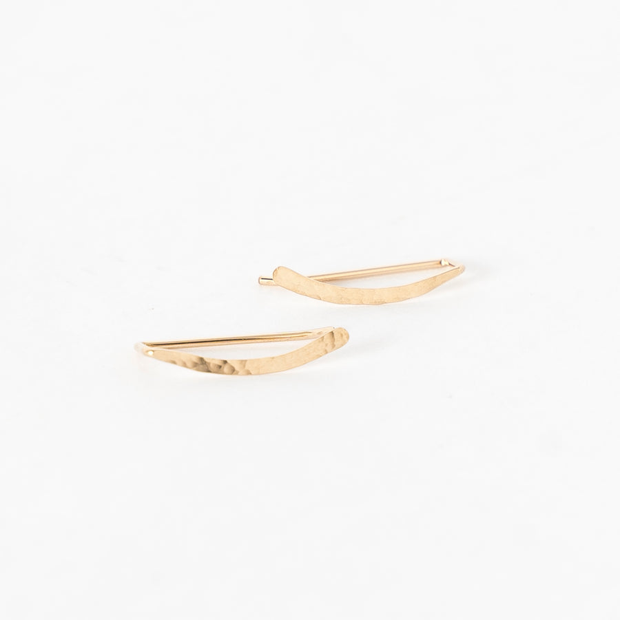 gold-filled ear climbers - hammered sweep ear crawlers - textured metal -