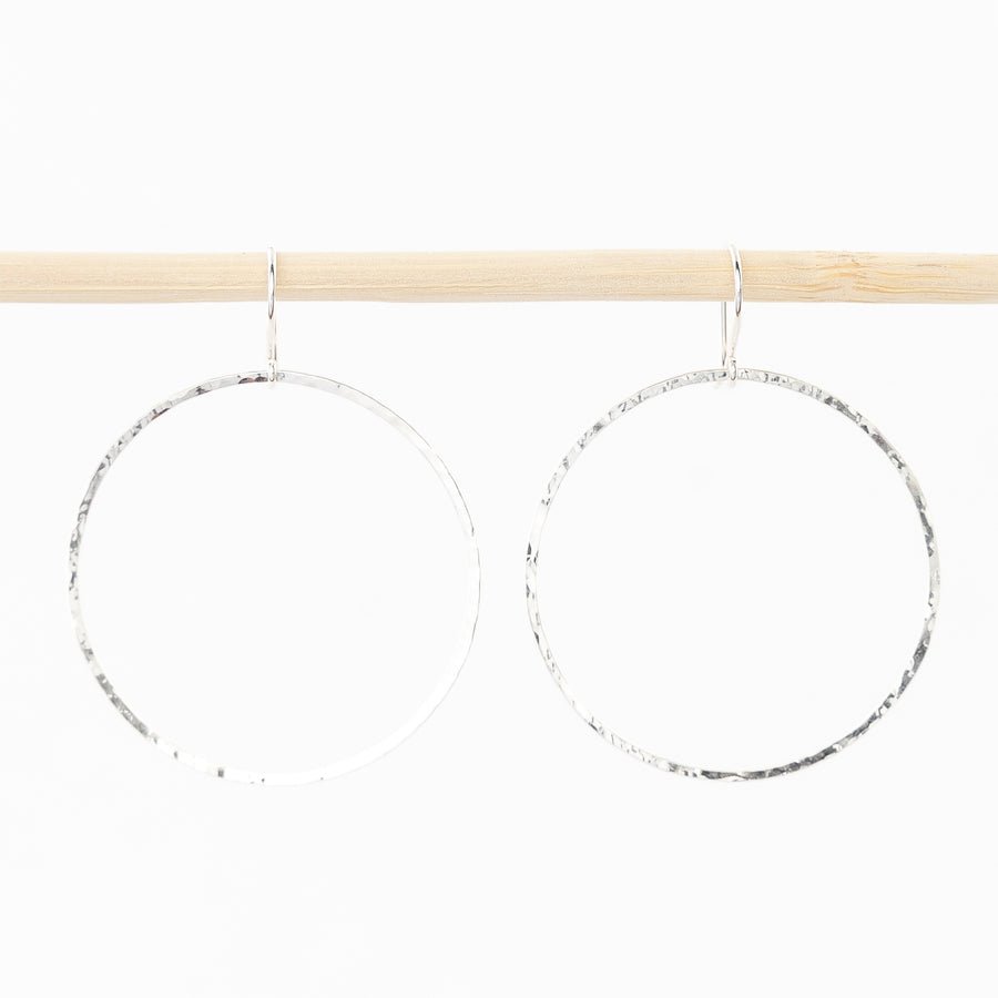 sterling silver 1 inch hoop drop earrings - hammered metal - french hooks - women's jewelry