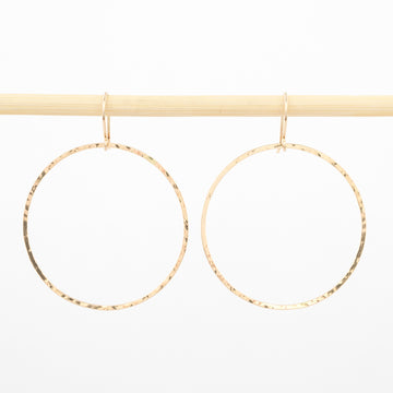 gold earrings - 14K - Circle Drop - 1.5