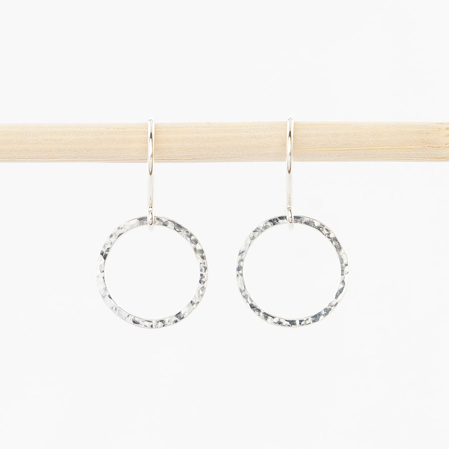 hoop drop earrings in sterling silver - hammered metal - french wire backs
