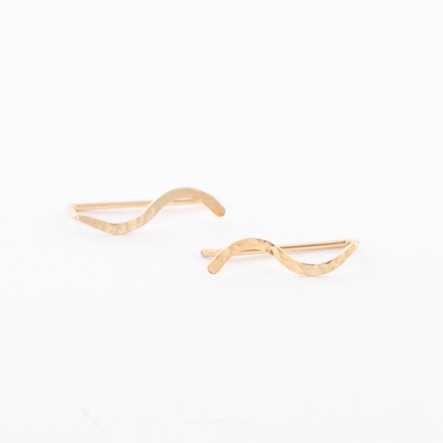 14K gold ear climber - earring - hammered squiggle - stud
