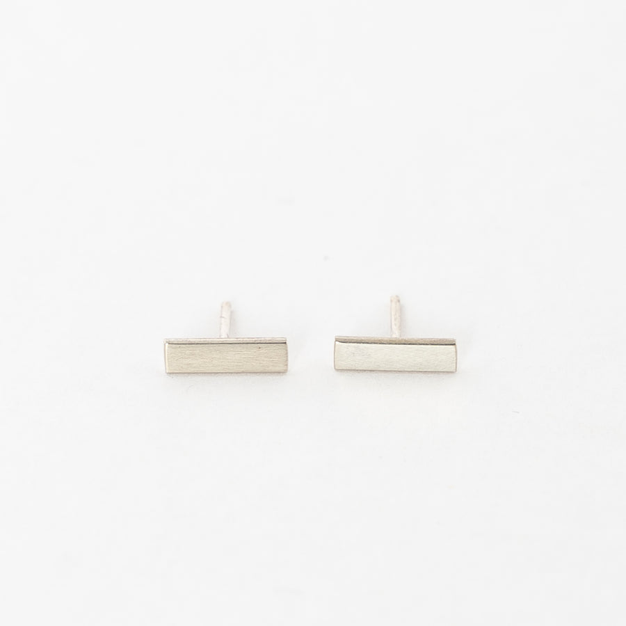 minimalistic bar stud earrings - sterling silver - hammered metal - women's jewelry - modern earrings