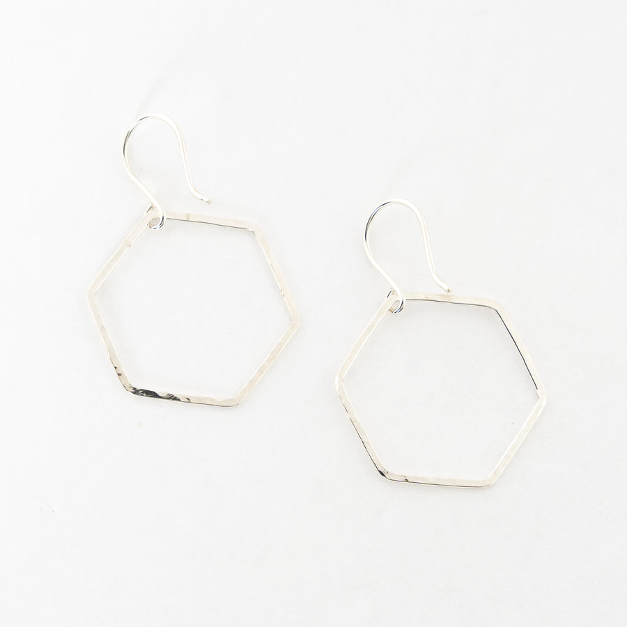 sterling silver earrings - dangles - handmade - hammered metal - hexagon shaped - women's jewelry