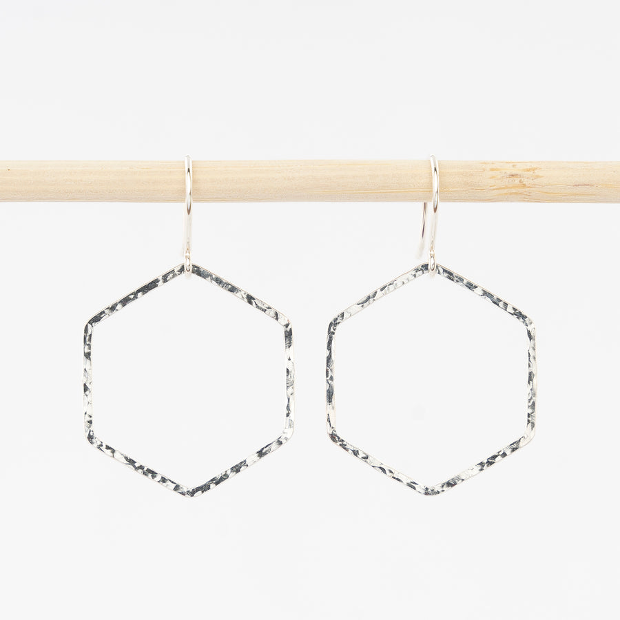 hammered hexagon hoop earrings - dangles - sterling silver - handmade in Maine - jewelry