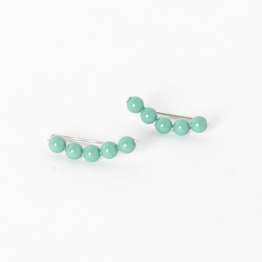 turquoise pearl ear climbers - women's earrings - simple jewelry