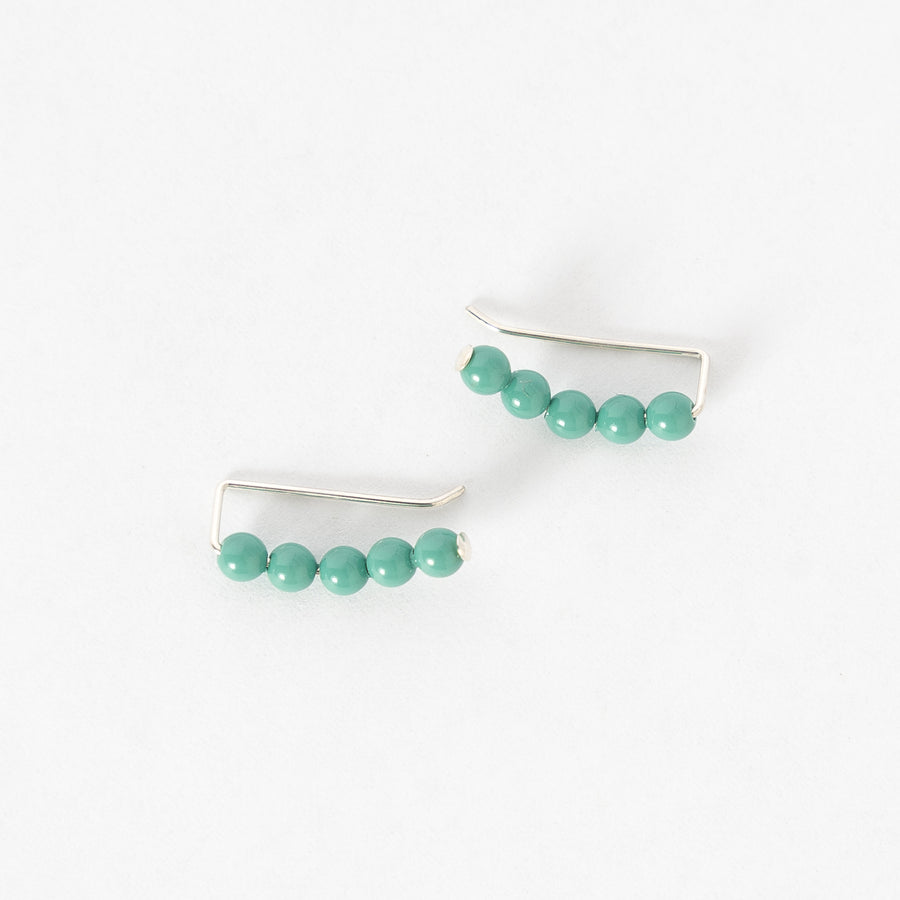 Swarovski pearl ear climbers in turquoise - handmade earrings in Maine