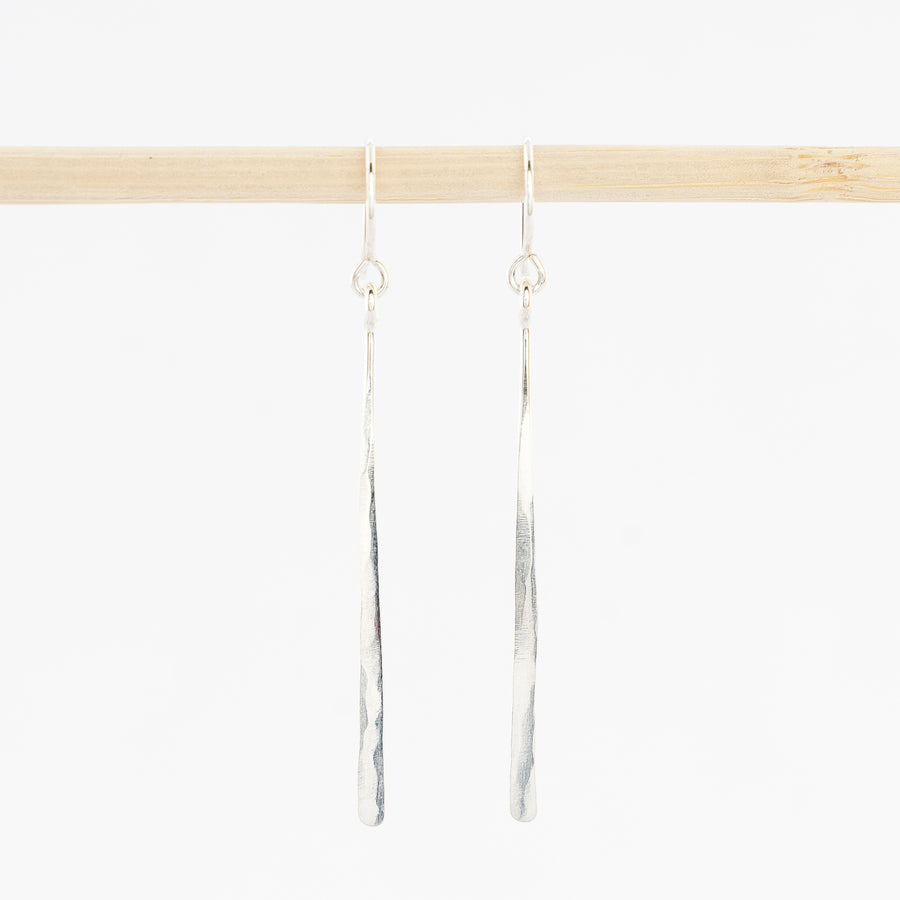 Sterling silver bar dangle earrings - hammered drops - handmade in Maine - french wirebacks