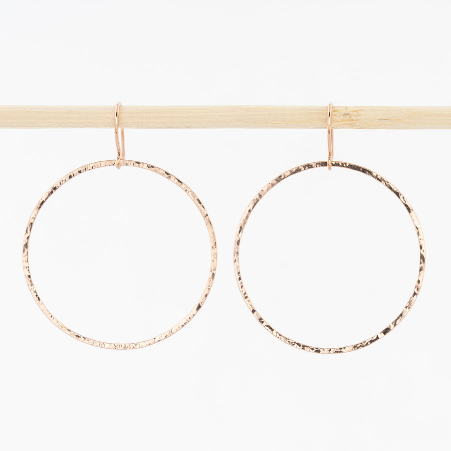 rose gold circle drop hoop earrings - hammered gold-filled wire - french wirebacks