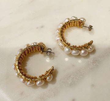 Pearl Wrapped Statement Earrings