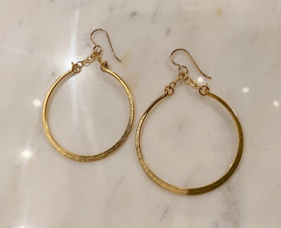 Gold Drop Hoop Earring