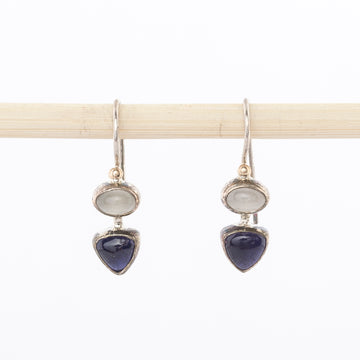 iolite and moonstone earrings - dangles - hand wrought - made in Maine - sterling silver - jewelry