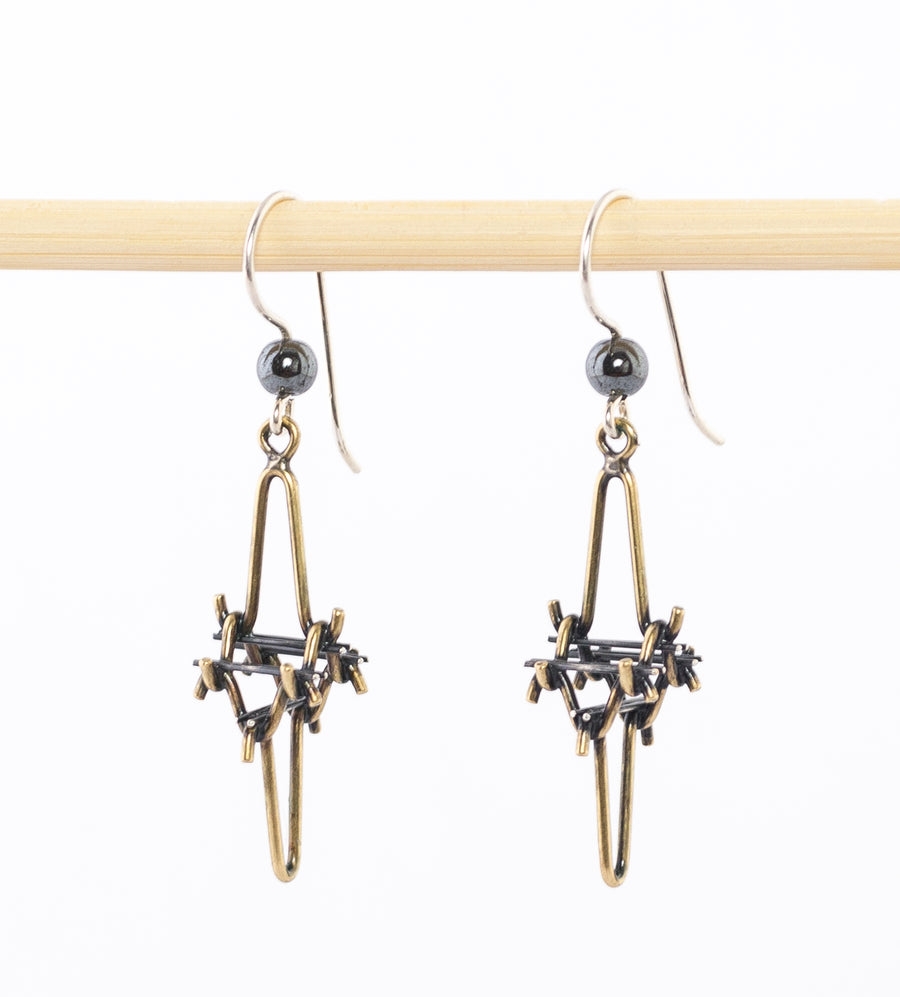 Modern Dangle Earrings- Oxidized Bronze and sterling Silver - hematite bead - handmade in Maine