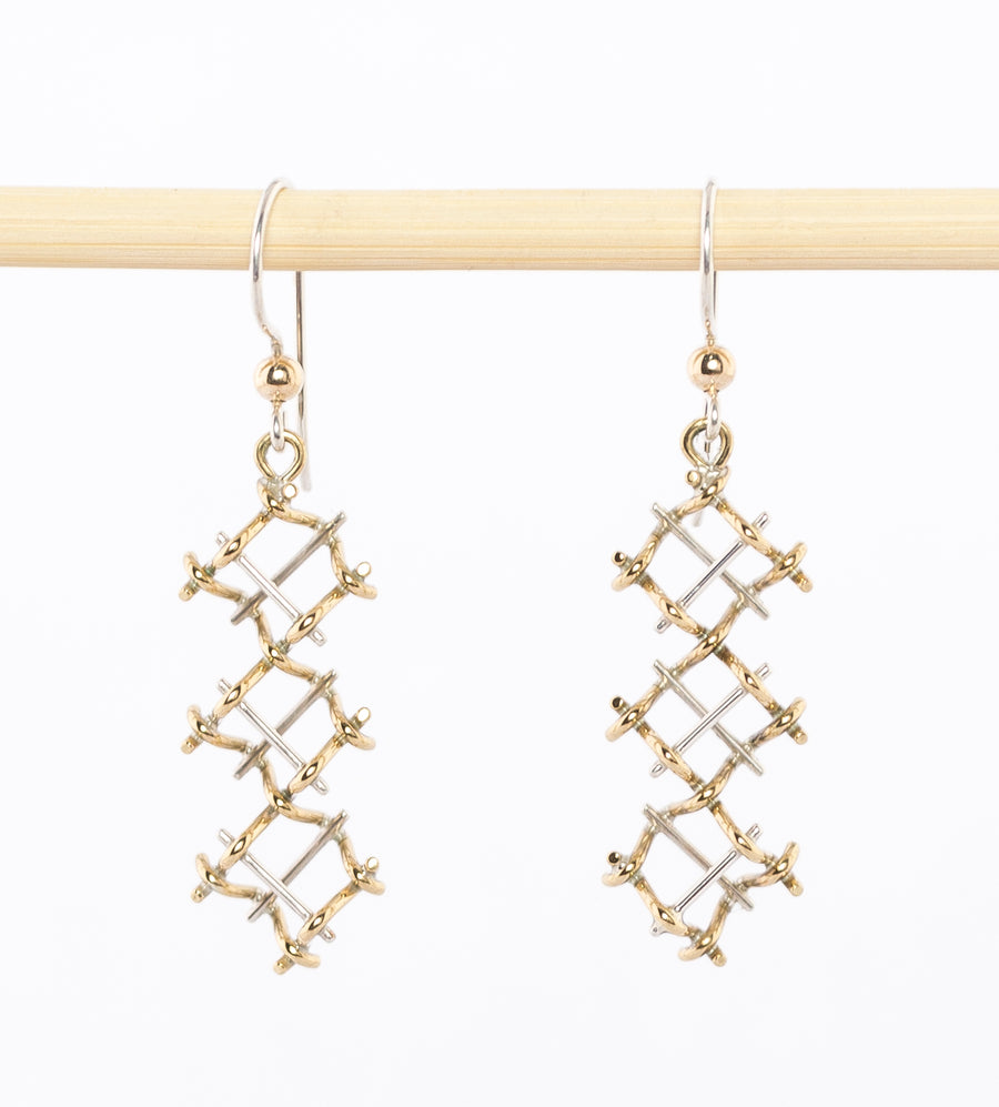 Modern Chandelier Earrings - sterling Silver - Bronze wire - geometric - handcrafted in Maine