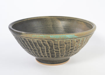 green stoneware ceramic bowl - textured pottery - fruit bowl - handmade in Maine - kitchen ware