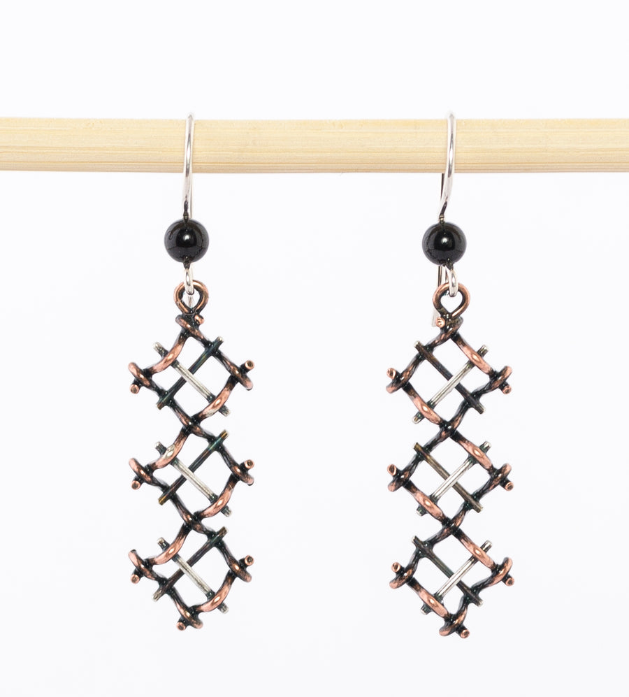 geometric silver and copper earrings - dangle - modern - oxidized sterling - hematite