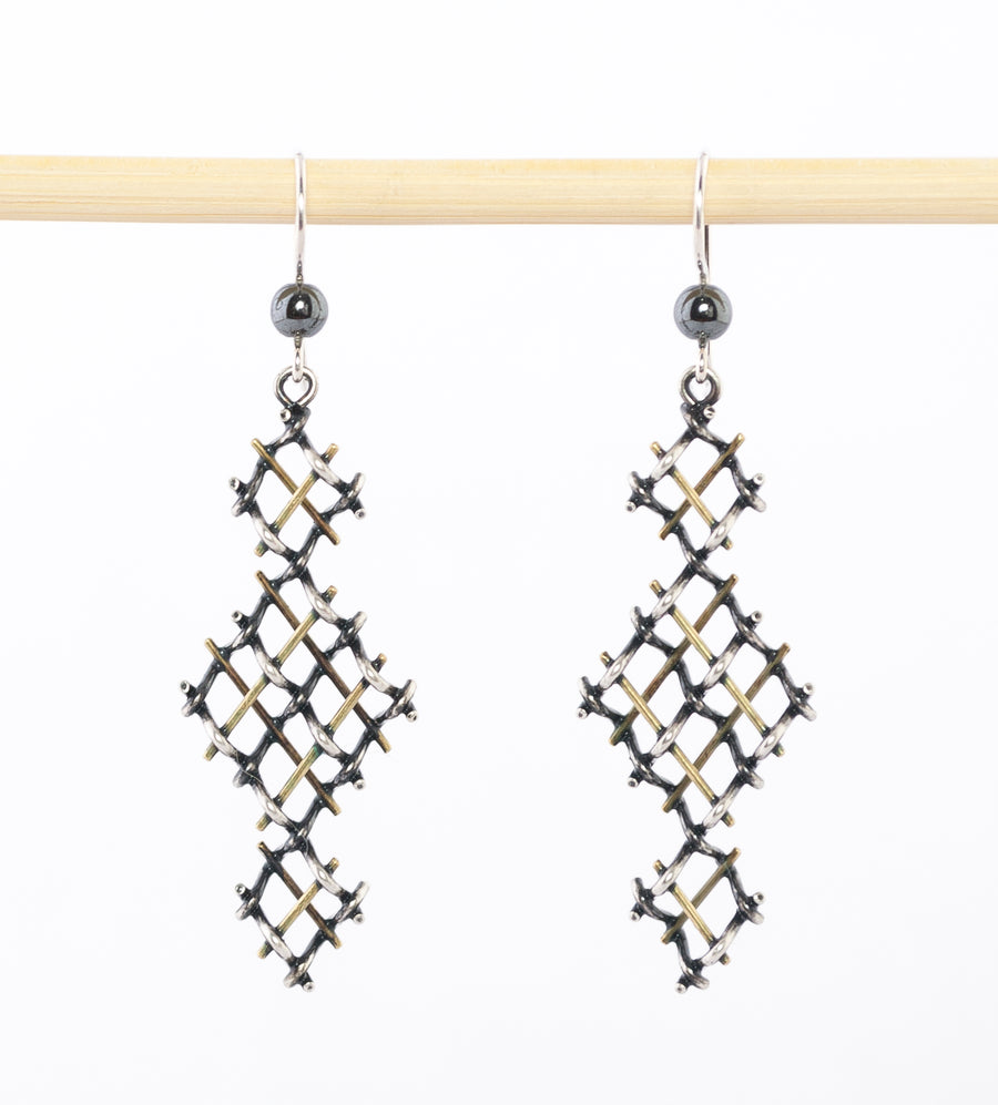 geometric silver and bronze earrings - dangle - modern - oxidized sterling - hematite