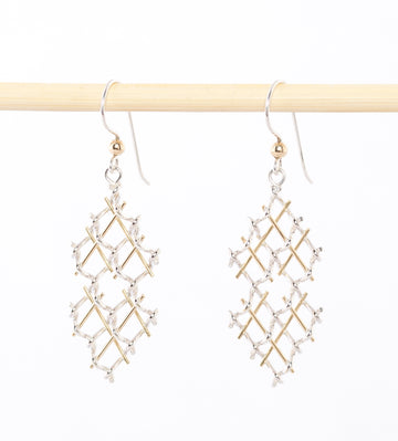 Modern Chandelier Earrings - sterling silver - bronze wire - hand wrought - made in Maine