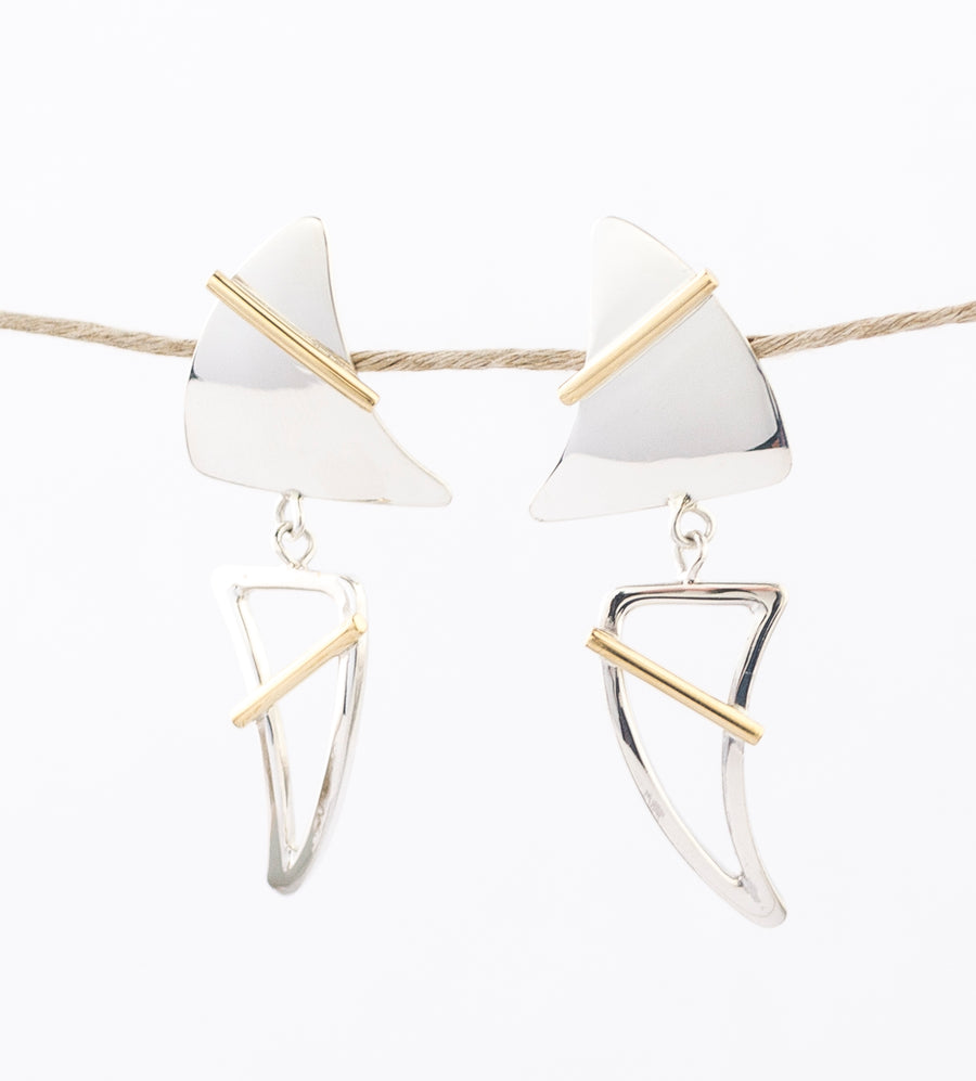 modern geometric Earrings - Sterling Silver, Bronze - dangle - post - stud - hand wrought