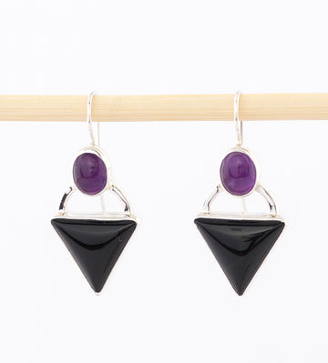 Earrings: Sterling Silver, Onyx Amethyst - dangle