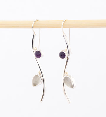 amethyst Earrings - Moonstone, Sterling Silver, Gold - dangle