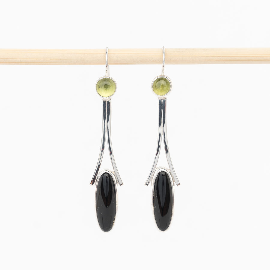 peridot and onyx earrings - dangles - sterling silver - handmade in Maine - jewelry - bezel set