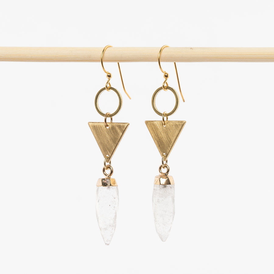 Quartz Point + Brass Earrings