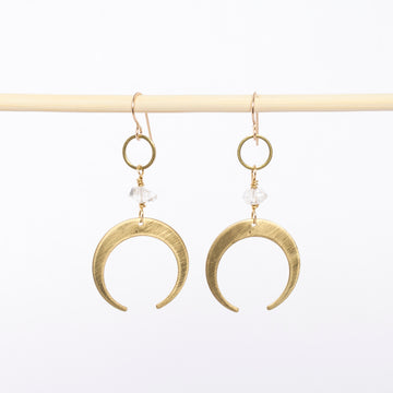 brass crescent moon earrings - dangles - gold filled wire backs - handmade jewelry