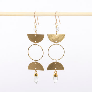 brass moonphase earrings - dangles - Herkimer diamonds - quartz crystals - handmade - jewelry