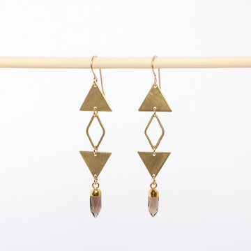 geometric triangle and smokey quartz earrings - dangles - brushed brass - boho jewelry - handmade in Maine