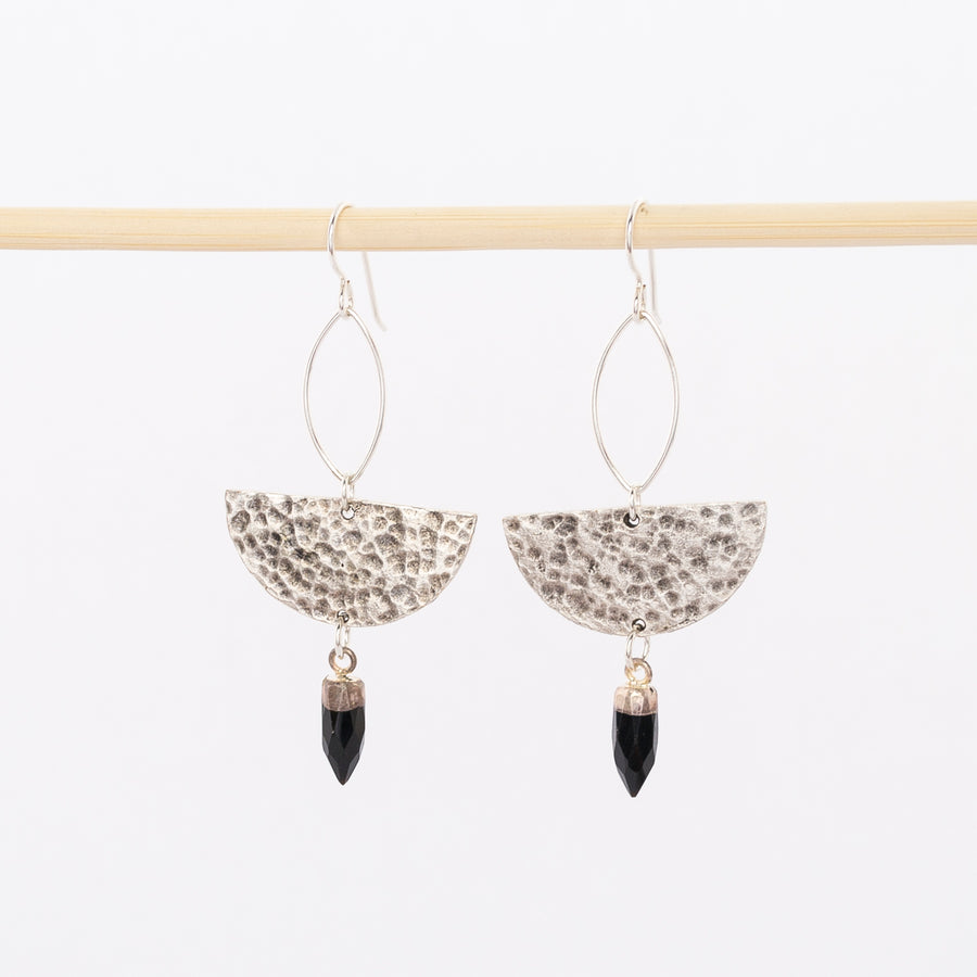 sterling silver and black onyx stone earrings - half moon dangles - inspired by the phases of the moon - stones - wire backs