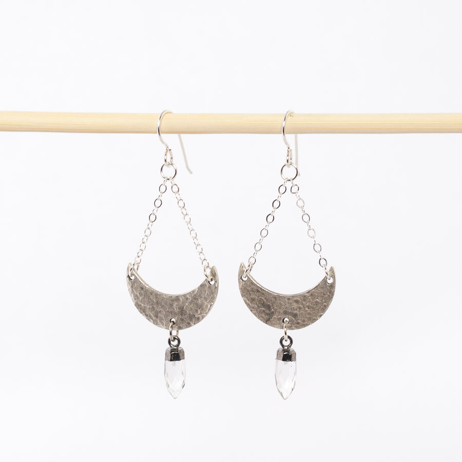 silver crescent moon and quartz point earrings - dangles - boho style jewelry - women's fashion - stellar creature jewelry