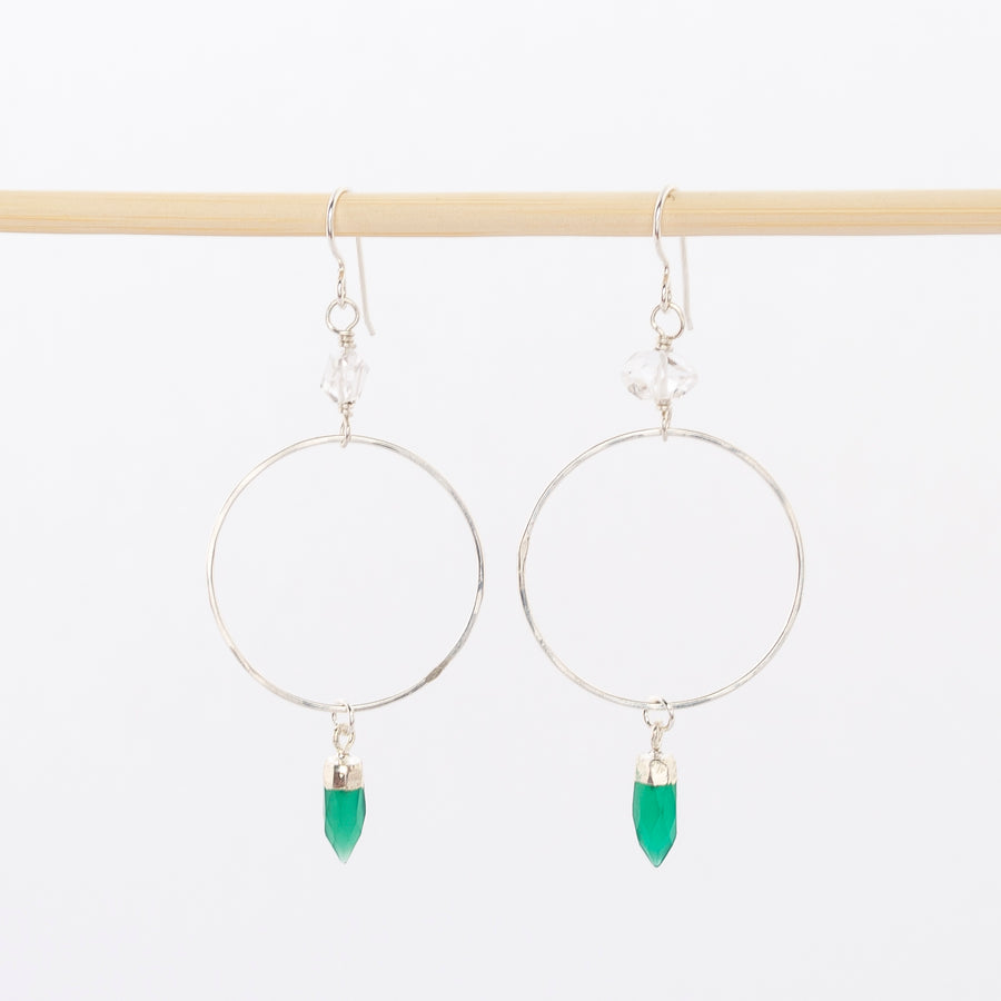 Herkimer diamond and green onyx hoops - precious stones - dangle earrings - wire backs - sterling silver - handmade in Maine - jewelry