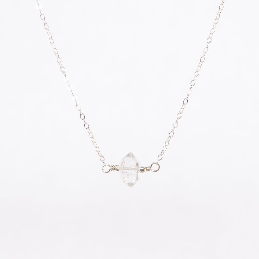 close up image of the silver herkimer diamond necklace - silver beads - delicate chain - simplistic jewelry