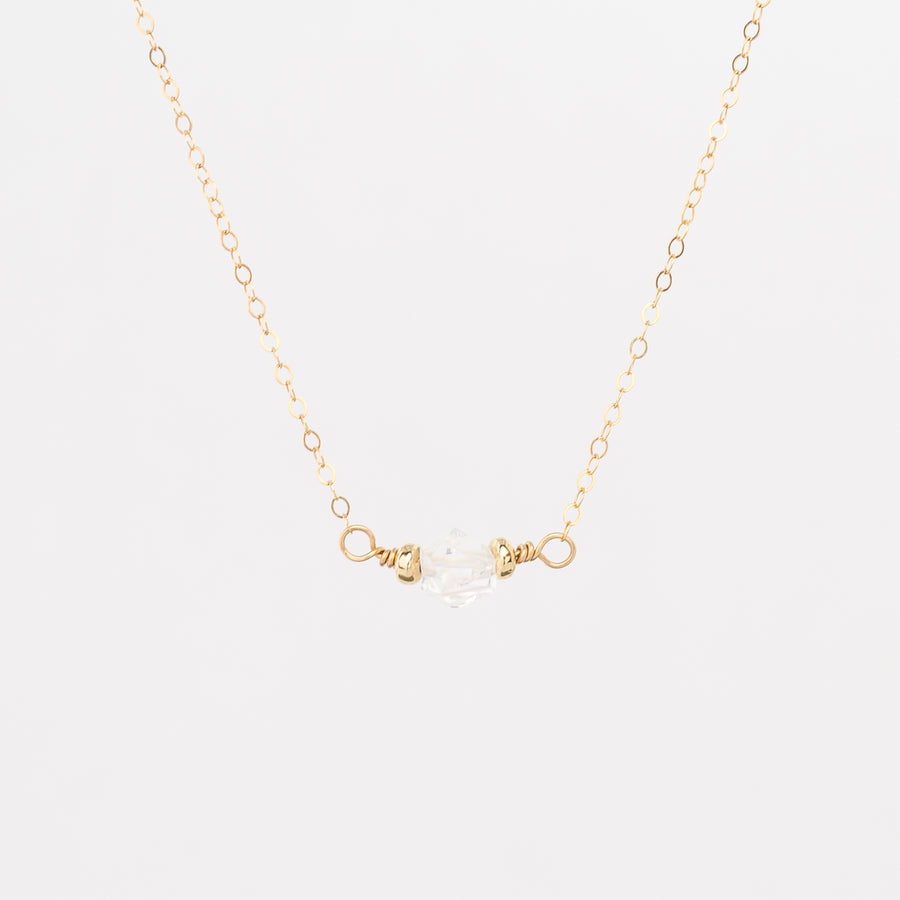 gold herkimer diamond necklace - delicate gold plated chain - lobster clasp - gold filled beads - women's jewelry
