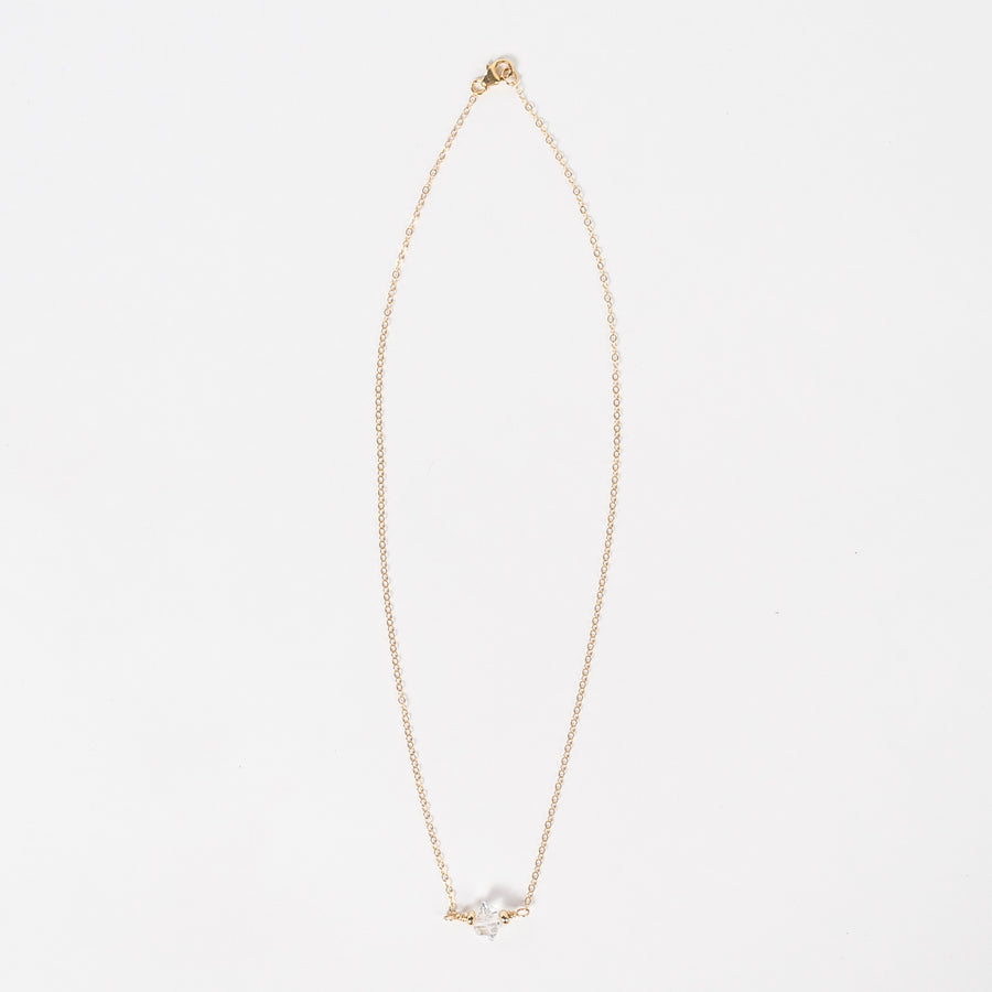 diamond necklace - gold plated chain - delicate - lobster claw clasp - handmade jewelry from Portland, Maine