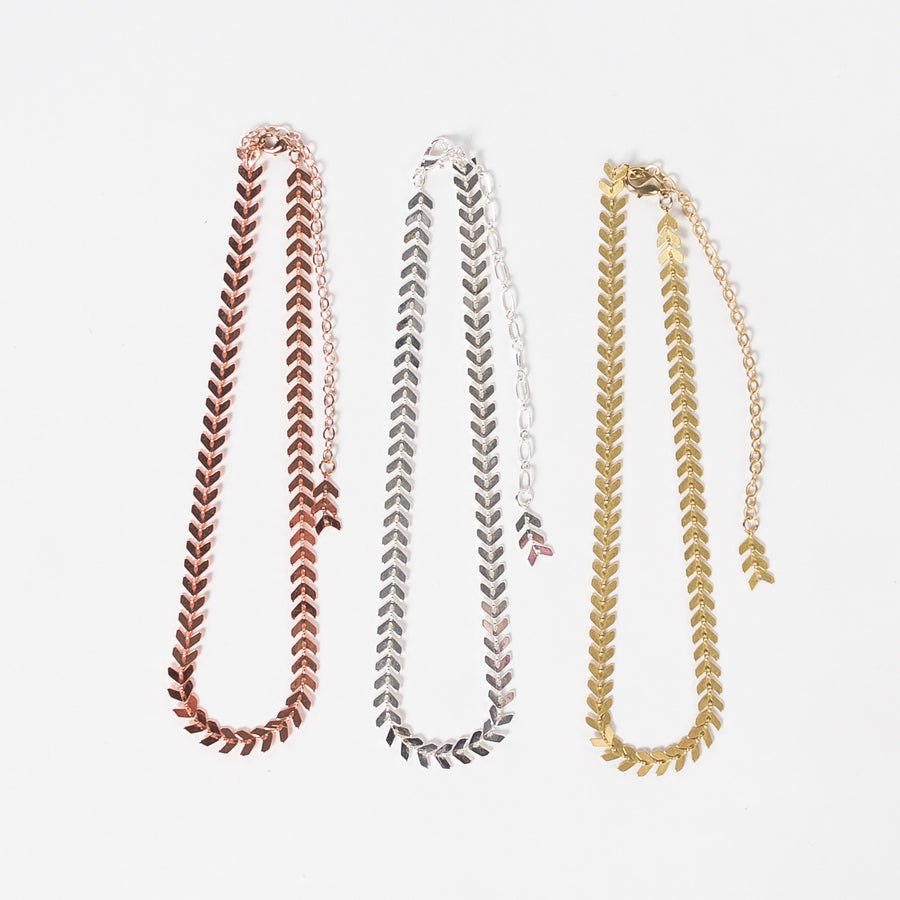 chevron choker collection - three metals - necklaces - group shot