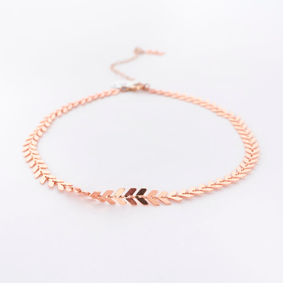 detail shot of the chevron choker in rose gold - necklace - jewelry - made in Maine