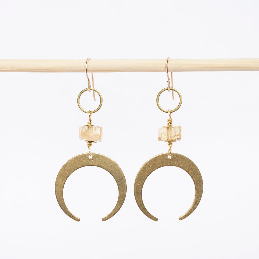 crescent moon dangle earrings - citrine stones - brass - french hooks - handcrafted