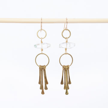phantom quartz earrings - dangles - hammered brass paddles - bohemian - jewelry