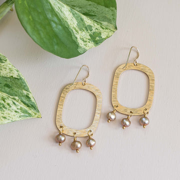 Textured Brass Oval Earrings with Pearl Drops