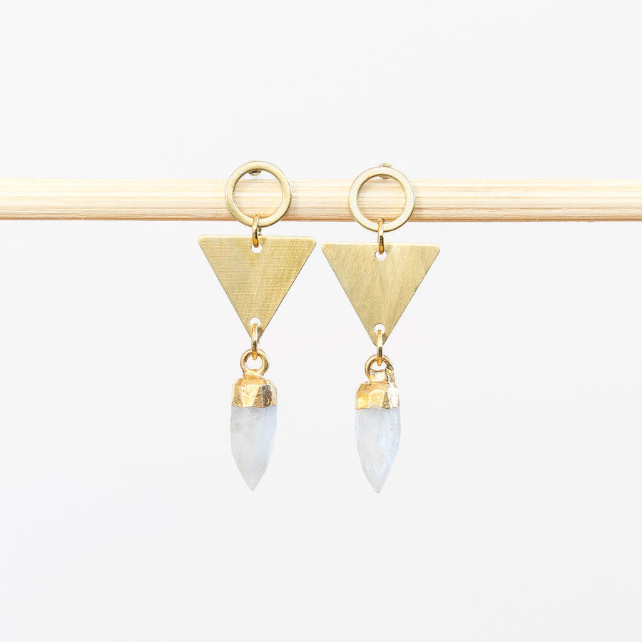 Mini Brass Triangle + Quartz Point Earrings