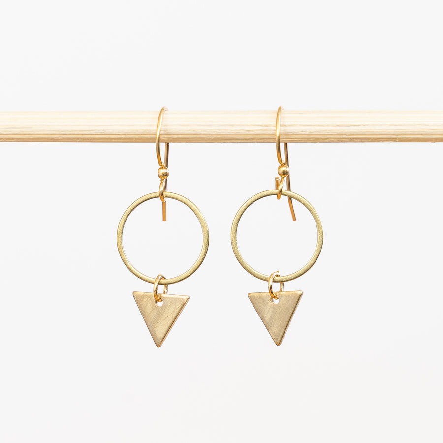 Brass Triangle Drop Earrings