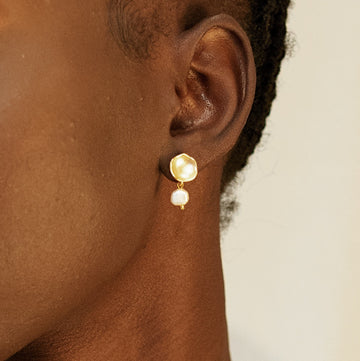 Concave Post Earrings with Tiny Pearl Drop