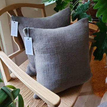 Grey Antique French Linen Pillows